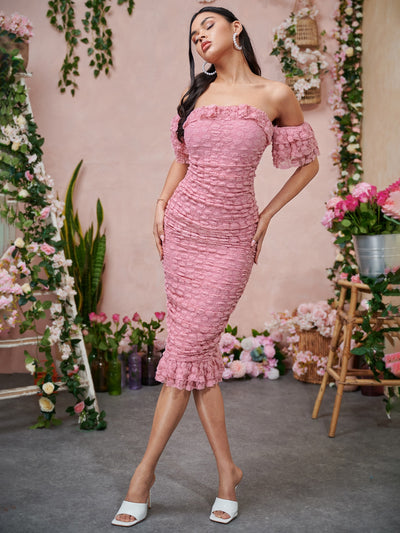 ruffle trim pink off shoulder short layered sleeve guipure lace bodycon midi dress, female model view 1
