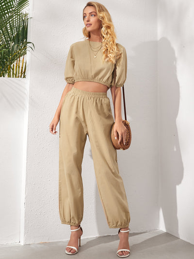 round neck khaki half batwing sleeve cotton cropped blouse and elastic waist pants set, female model view 1
