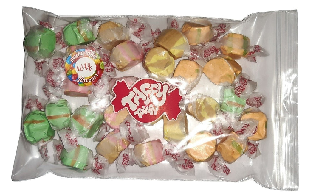 Assorted wacky taffy flavours salt water taffy 200g bag