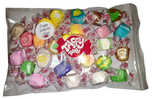 "Assorted salt water taffy ""Happy birthday nana"" 200g bag"