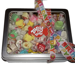 Assorted salt water taffy Happy birthday gift tin.
