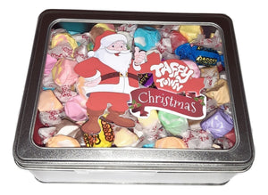 Assorted salt water taffy Christmas gift tin