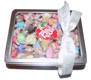 Assorted salt water taffy Thank you gift tin