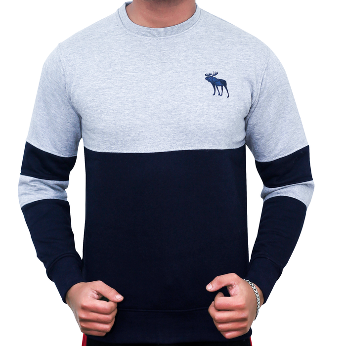 SLEEVE PANEL CREW NECK SWEAT SHIRT (H.GREY)