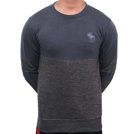 SLEEVE PANEL CREW NECK SWEAT SHIRT (CHARCOAL)