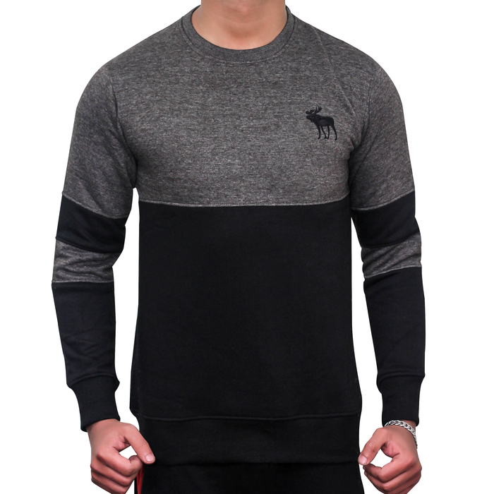 SLEEVE PANEL CREW NECK SWEAT SHIRT (DULL GREY)