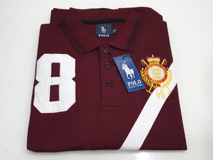 PLO RLN CROSS PANEL FRONT EMBROIDERED LOGO POLO SHIRT-Maroon