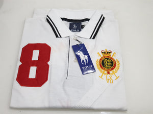 PLO RLN CROSS PANEL FRONT EMBROIDERED LOGO POLO SHIRT-White