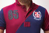 TMY HFR CROSS PANEL EMBROIDERED LOGO POLO SHIRT- Maroon