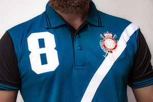 PLO RLN CROSS PANEL FRONT EMBROIDERED LOGO POLO SHIRT- Blue