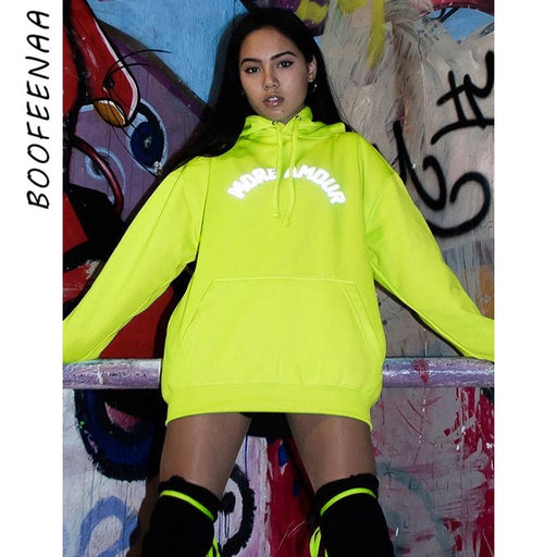 Reflective Letter Print Neon Green Oversized Hoodies