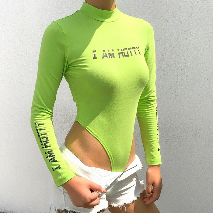 Letter Print Neon Green Turtleneck Long Sleeve Bodysuit