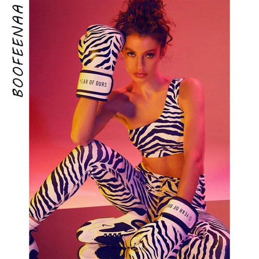 Zebra Print Tracksuit Two Piece Set Padded Sports Bra Pants