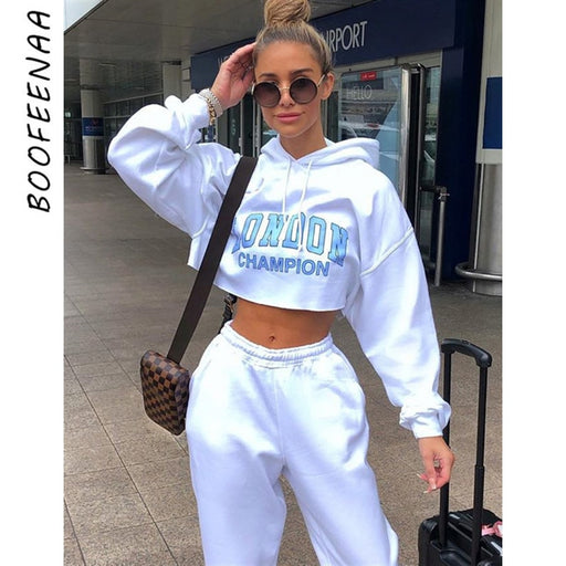 Letter Print White Cropped Oversized Hoodie Streetwear