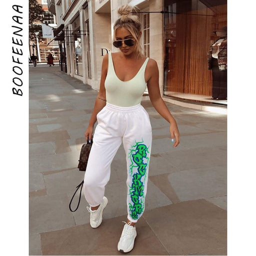 Letter Print White Trousers Casual Sweatpants