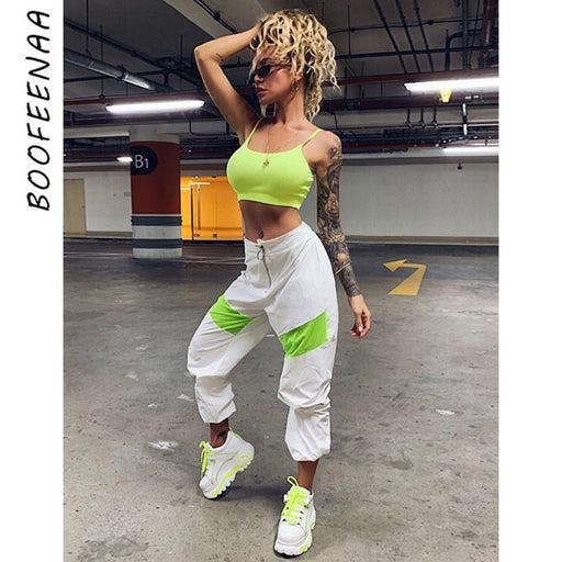 Streetwear Color Block High Waist Joggers
