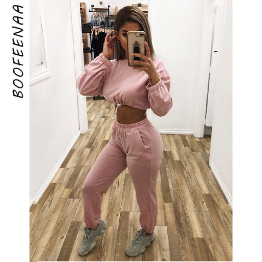 Two Piece Pants Sets Streetwear Sweat Suits Pink Twinset