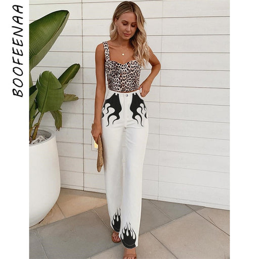 Flame Printing White High Waist Flare Pants
