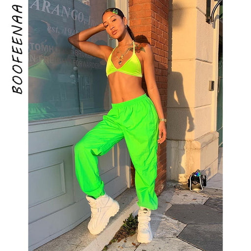 Neon Green High Waist Joggers Harem Pants