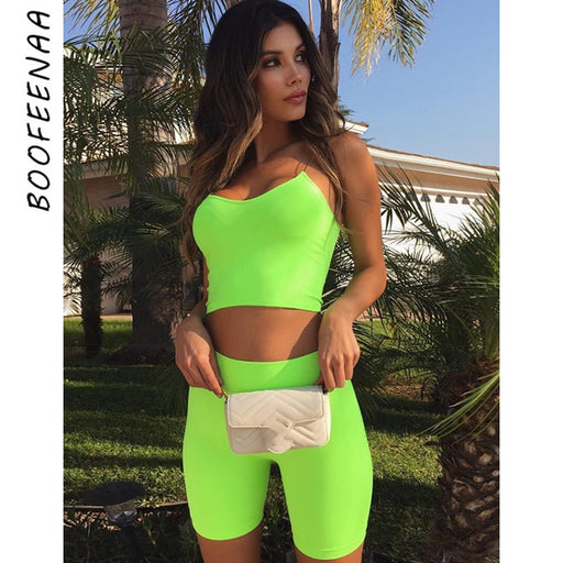 Neon Green Biker Shorts and Crop Top Two Piece Set