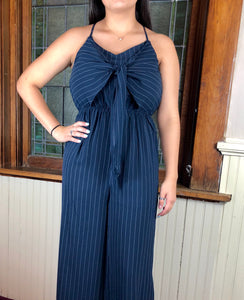 I Mean Business in Navy | Front-tie Jumpsuit