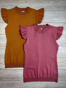 Cap Knit Top in Mauve