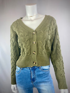 Cable Cardigan | Olive