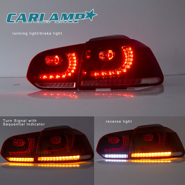 VLAND LED Sequential Red Lens Tail Lights - 09-13 VW Golf MK6