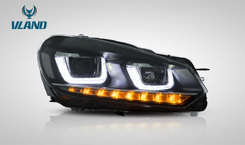 VLAND LED Sequential Headlights - 2010-2013 VW Golf MK6