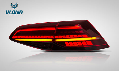 VLAND LED Sequential Red Lens Tail Lights - 14-19 VW Golf MK7