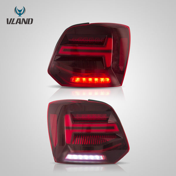 VLAND LED Sequential Red Lens Tail Lights - 2011-2017 VW Polo MK5