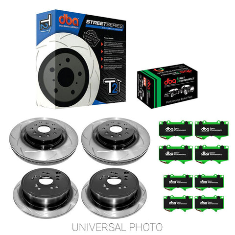 DBA T2 Slotted Front and Rear Rotors with DBA Street Performance Pads - Toyota 86/Subaru BRZ