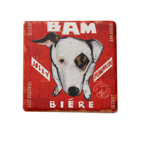 The Detroit Coaster Co Bam Biere Coaster - Red