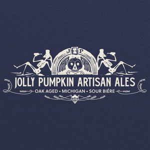 Jolly Pumpkin Drinking Skeletons Tee - Vintage Navy