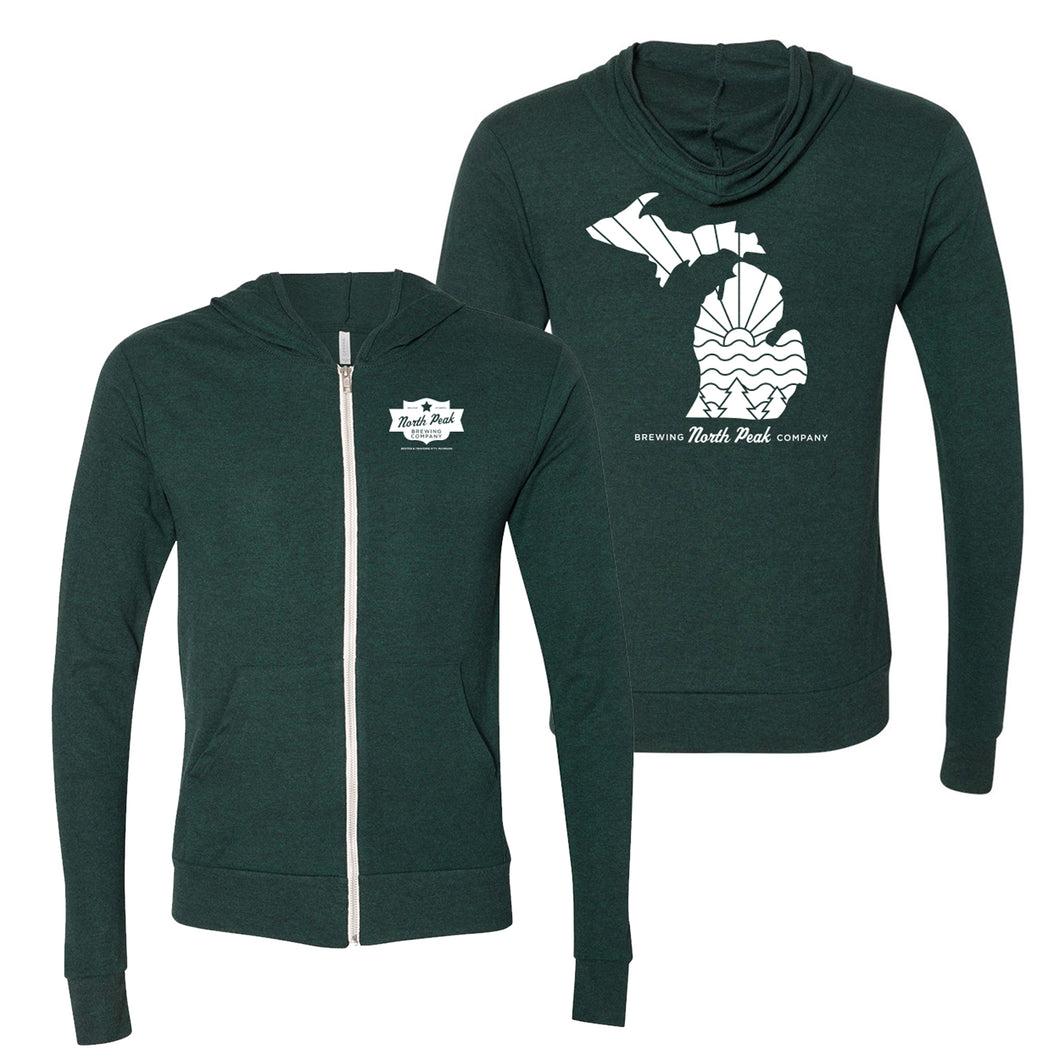 North Peak Green Lightweight Hoodie