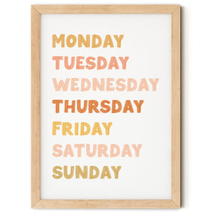 Days of the Week Nursery Print