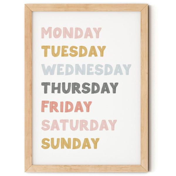 Days of the Week Educational Print