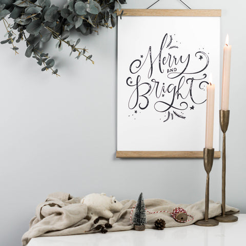 Merry & Bright Vintage Style Christmas Print