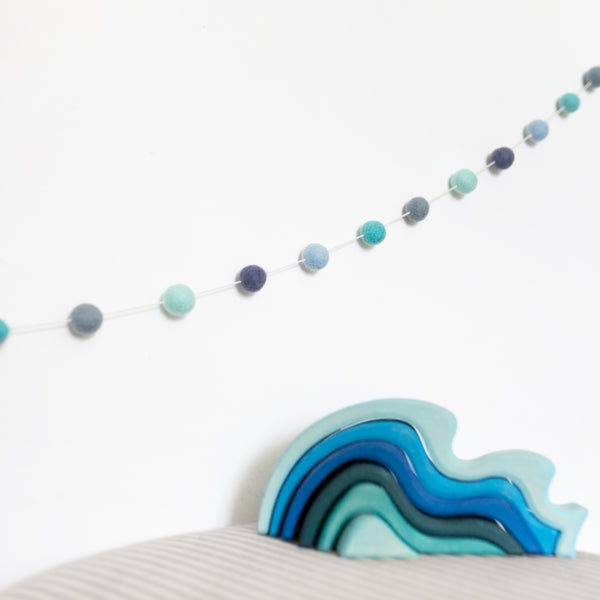 Blue Felt Ball Garland