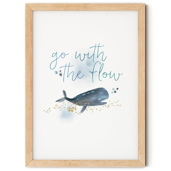 Go with the Flow Whale Print