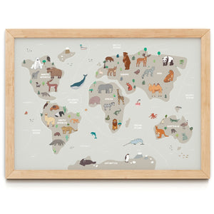 Grey Animal Map Print