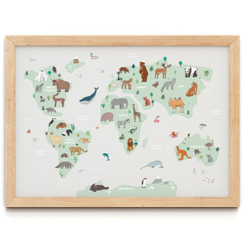 Mint Animal Map Print