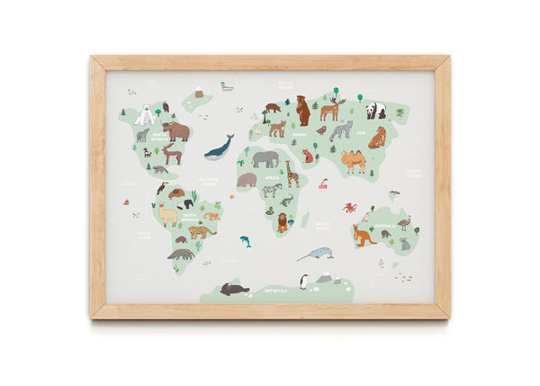 Natural Animal Map Print
