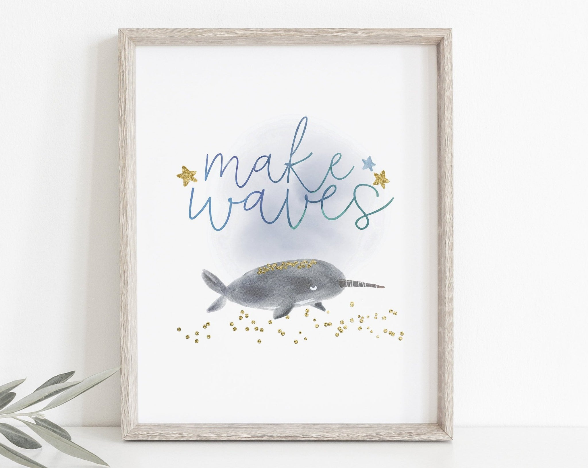 Make Waves Narwhal Nursery Print