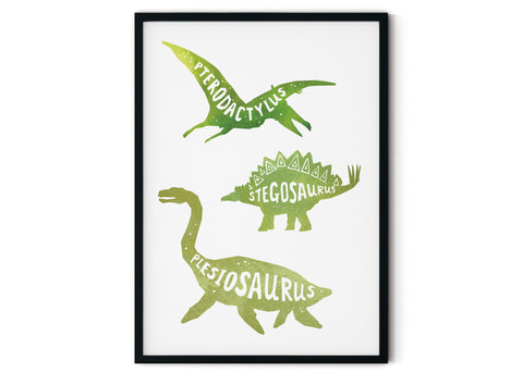 Print featuring three green dinosaurs on a white background. The dinosaurs are (from top to bottom) a pterodactylus, a stegosaurus and a plesiosaurus. Dinosaurs are not drawn to scale! The background is white.