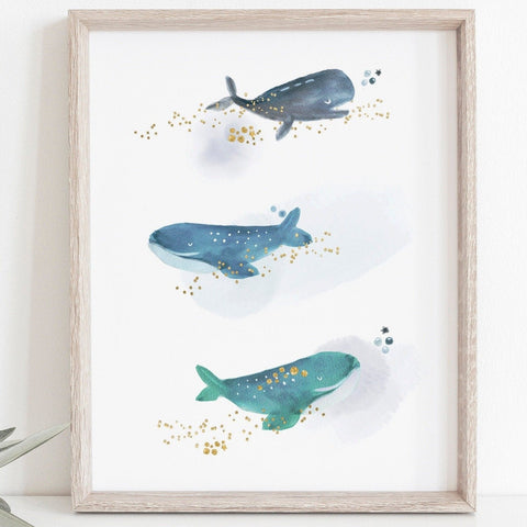 Watercolour Whales Nursery Print