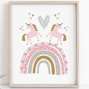 Unicorns and Rainbow Print