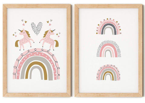 Unicorn & Rainbow Print Set