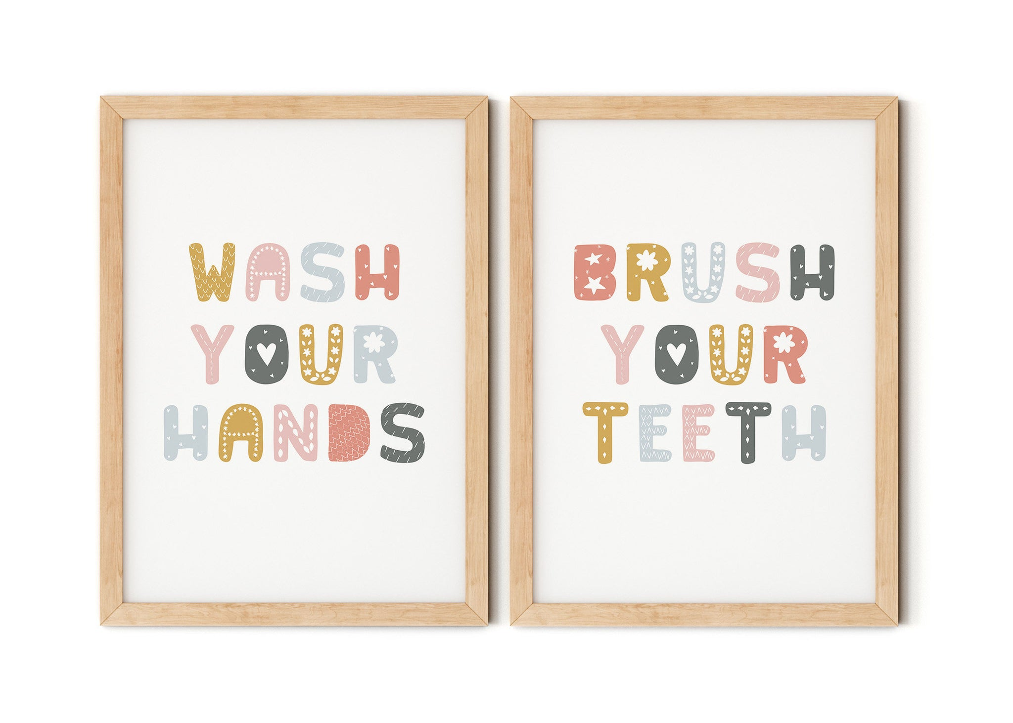 Wash Your Hands Brush Your Teeth Print Set