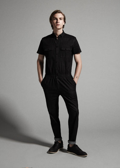 SHORT SLEEVE DENIM JUMPER BLACK